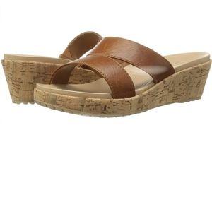 CROCS - Leather Wedge Sandal
